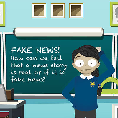 cartoon student looking confused and learning about fake news