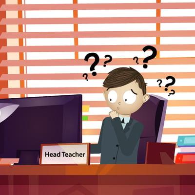cartoon headteacher confused on computer