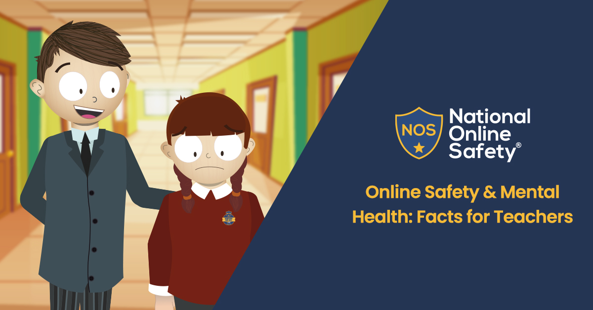 smiling teacher comforts sad looking girl, next to national online safety logo and page title
