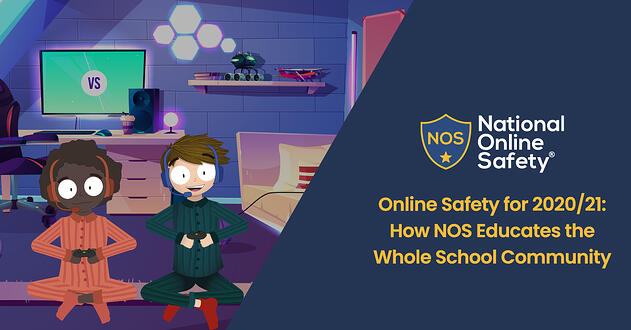 cartoon of two children sitting in front of a screen, with game console controllers in their hands and headsets on their heads. Alongside image is the national online safety logo and page title.