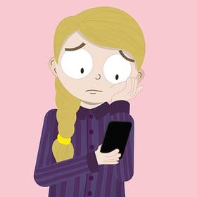 Sad on phone